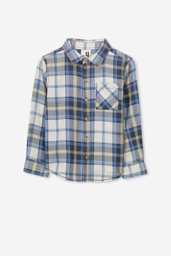 Noah Long Sleeve Shirt, BLUE NAVY CHECK SW