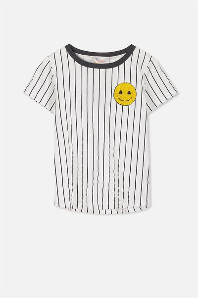 Short Sleeve License Tee, PHANTOM STRIPE/SMILE EMOJI