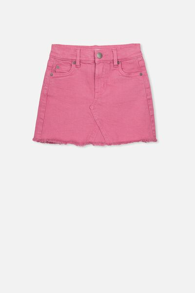 Finn Denim Skirt, CARMINE PINK