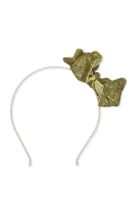 Large Bow Sparkle Headband, GOLD