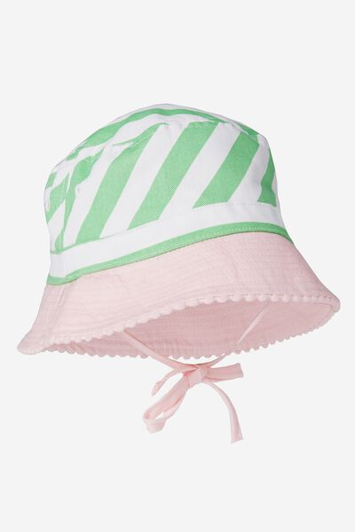 Baby Bucket Hat, STRIPE/PINK