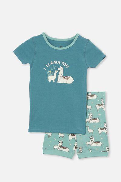 Nikki Short Sleeve Pyjama Set, I LLAMA YOU TEAL STORM