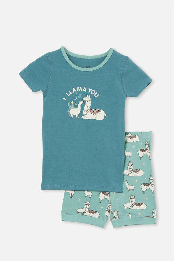 Nikki Short Sleeve Pyjama Set, I LLAMA YOU TEAL STORM