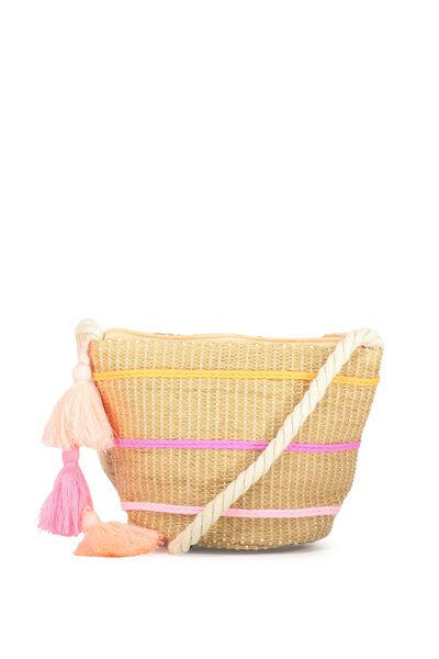 Woven Cross Body Bag, PINK/LOBSTER