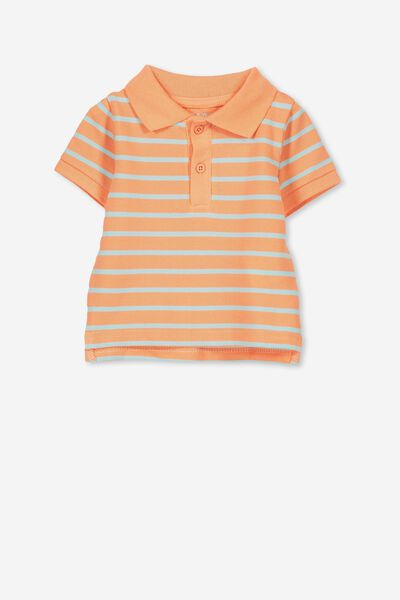 Hugo Polo Tee, TROPICAL ORANGE/SEA TINT STRIPE
