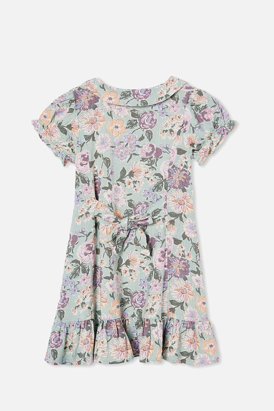 Evelyn Short Sleeve Dress, DUCK EGG PAINTERLY FLORAL