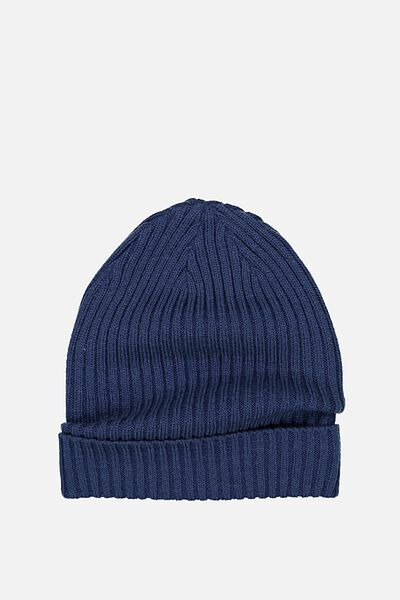 Winter Knit Beanie, CAPTAINS BLUE SLOUCH