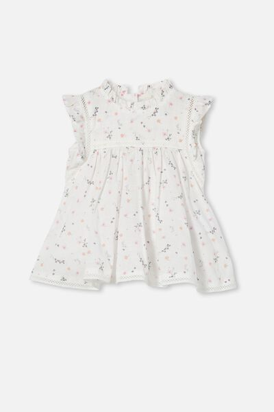 Tess Flutter Sleeve Dress, VANILLA/PALE VIOLET RACHAEL FLORAL
