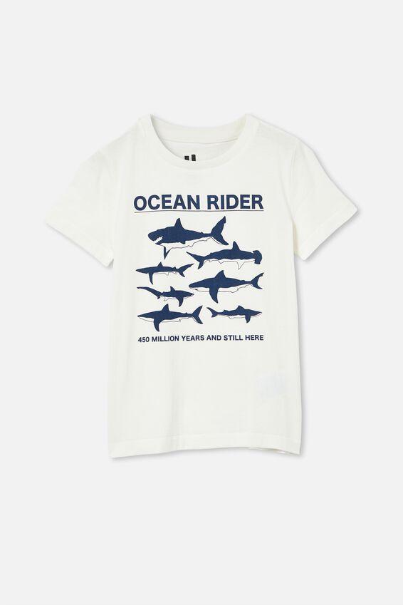 Max Short Sleeve Tee, RETRO WHITE/MULTI SHARKS