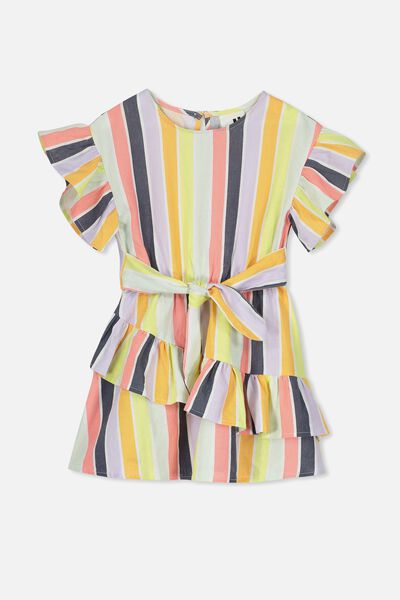 Jodie Short Sleeve Dress, RAINBOW STRIPE