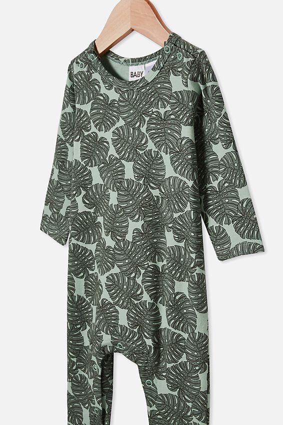 The Long Sleeve Snap Romper, SMASHED AVO/TROPICAL LEAVES