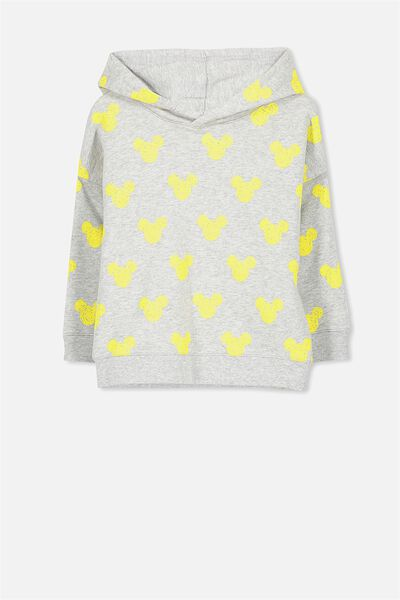 Lux Hoodie, MICKEY HEADS LIGHT GREY MARLE/DROP SHOULDER
