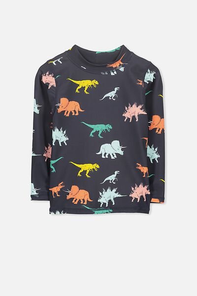 Fraser Long Sleeve Rash Vest, PHANTOM/DINO YDG