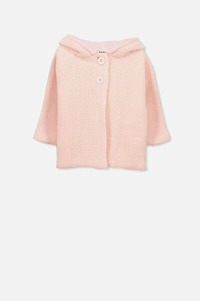 Taylor Hooded Knit, POWDER PINK