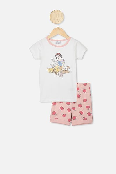 Nikki Short Sleeve Pajama Set, LCN DIS WHITE/SNOW WHITE AND FRIENDS