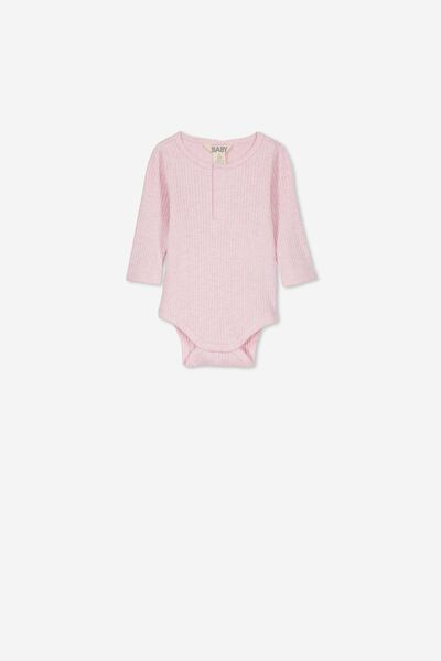 Ls Button Bubbysuit, PINK MARLE