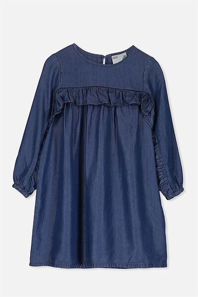 Immie Long Sleeve Dress, DARK BLUE WASH