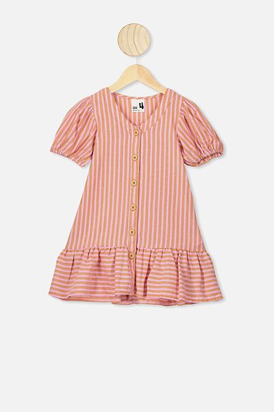 Lulu Short Sleeve Dress, CALI PINK/DUST STORM STRIPE