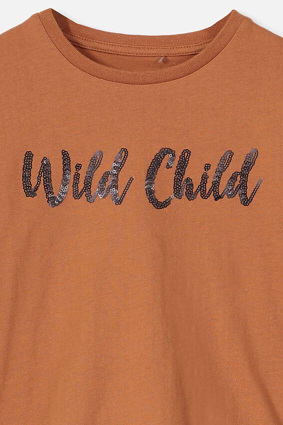 Stevie Ls Embellished Tee, AMBER BROWN/WILD CHILD/SET IN