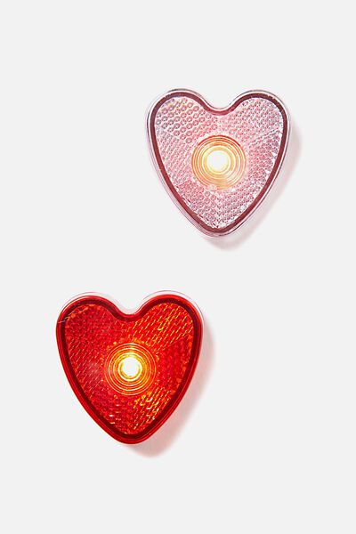 Clip On Lights, RED/ WHITE HEART