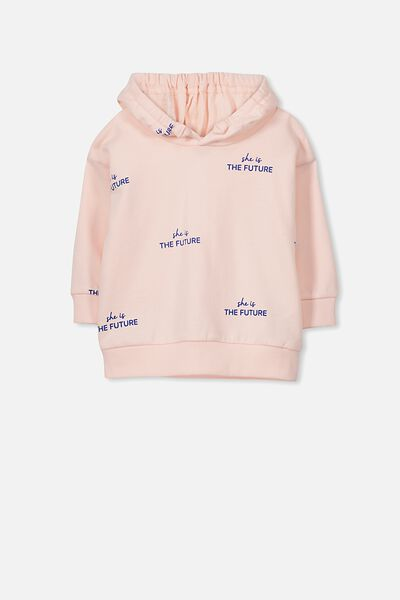 Skyler Drop Shoulder Hooded Jumper, BUBBLEGUM PINK/THE FUTURE