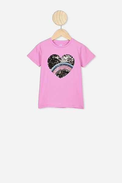Stevie Ss Embellished Tee, PURPLE PARADISE/RAINBOW HEART