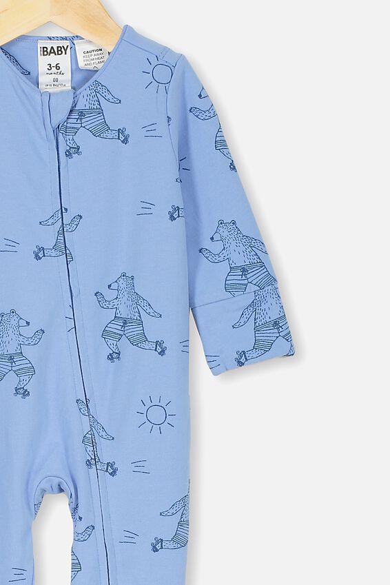 The Long Sleeve Zip Romper, POWDER PUFF BLUE SUMMER SKATING BEAR