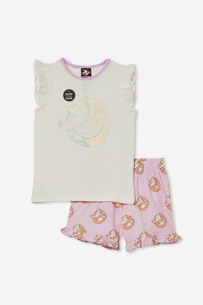 Stacey Flutter Short Sleeve Pyjama Set Licensed, LCN SON GHOSTBUSTERS RAINBOW/VANILLA