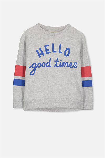 Sage Crew, LIGHT GREY MARLE/HELLO GOOD TIMES/DROP SHOULDER