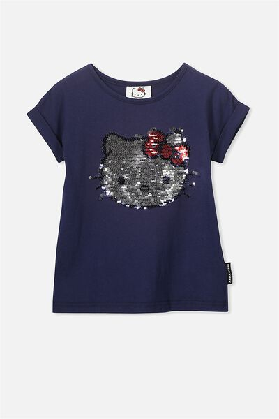 Lux Short Sleeve Retro Tee, PEACOAT/REVERSE HELLO KITTY