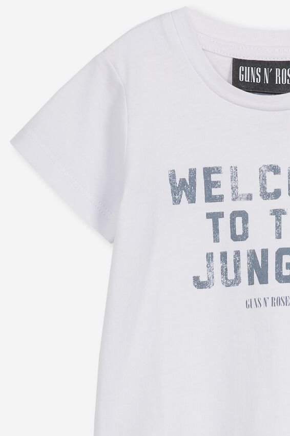 Jamie Short Sleeve Tee, LCN BR WHITE/WELCOME TO THE JUNGLE