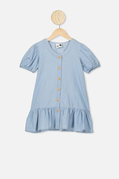 Lulu Short Sleeve Dress, MID BLUE WASH