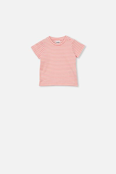 Jamie Short Sleeve Tee, CHRIS STRIPE RETRO CORAL/VANILLA