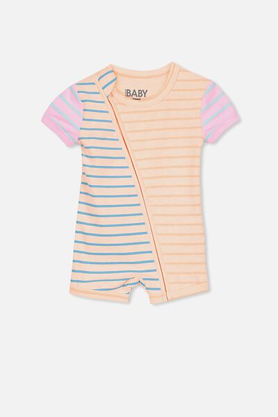 Mini Ss Zip Through Romper, SHELL PEACH/MULTI STRIPE