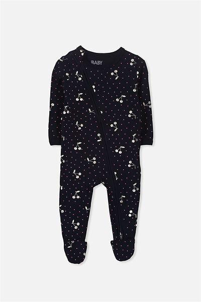 Sleep Mini Zip All In One Jumpsuit, TWILIGHT/FOIL CHERRIES