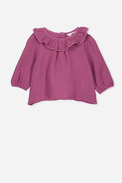 Halle Long Sleeve Ruffle Top, LOGANBERRY