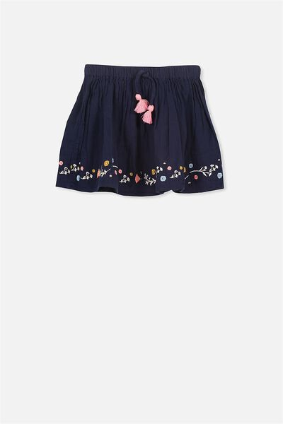 Elise Skirt, PEACOAT/FLORAL EMBROIDERY