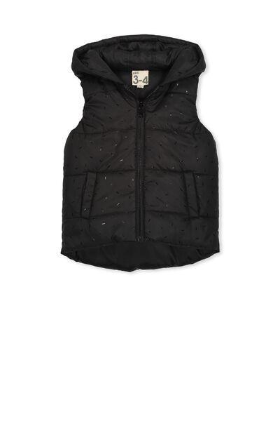Rose Reversible Puffer Vest, BLACK/BLACK FOIL FLECK