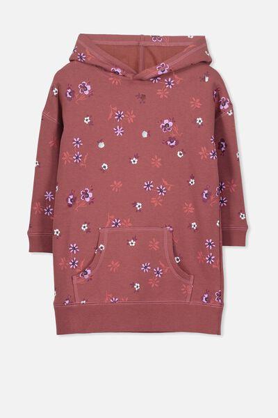 Viola Long Sleeve Hood Dress, BURNT DESERT/DITSY