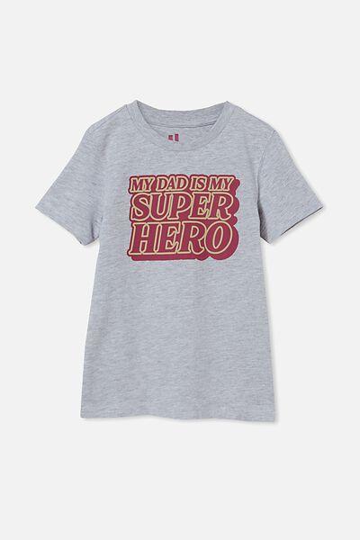 Max Skater Short Sleeve Tee, LIGHT GREY MARLE/MY DAD IS MY SUPERHERO