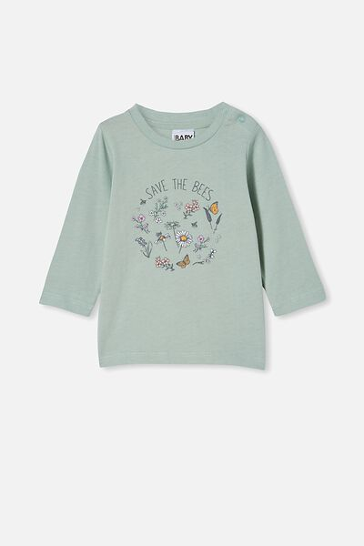 Jamie Long Sleeve Tee, STONE GREEN/SAVE THE BEES