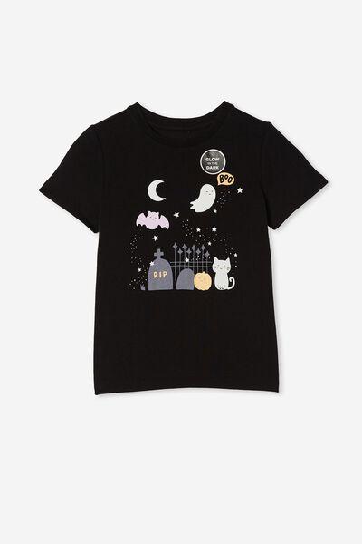 Penelope Short Sleeve Tee, BLACK/SPOOKY NIGHT