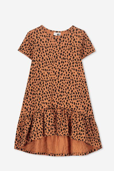 Joss Short Sleeve Dress, SUNBURN/ANIMAL