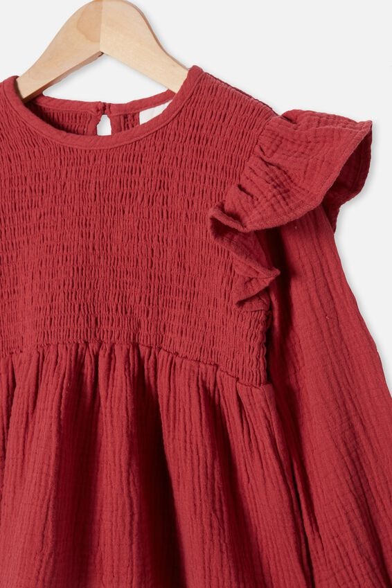 Ruby Long Sleeve Shirred Top, EARTH RED