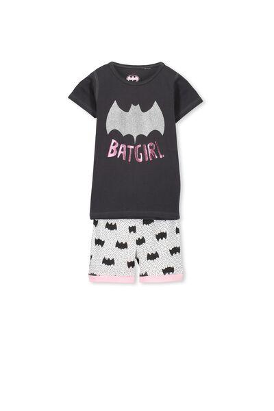 Batgirl Short Sleeve PJ Set, BATGIRL GLITTER PINK