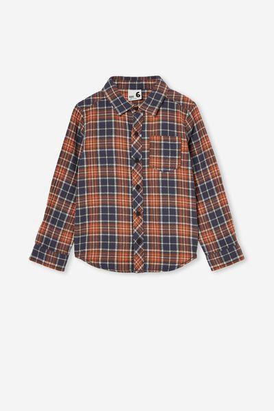 Rugged Long Sleeve Shirt, AMBER BROWN PLAID