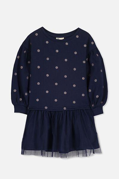 Aspen Dress, PEACOAT/RAINBOW DOT