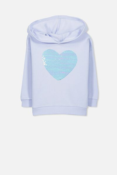 Scarlett Fleece Hoodie, MORNING BLUE/REVERSIBLE HEART