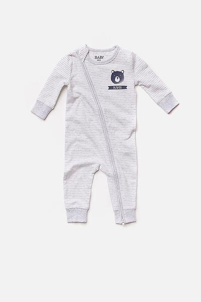 Personalised Baby Footless Romper, CLOUD MARLE/VANILLA STRIPE (PERSONALISATION)