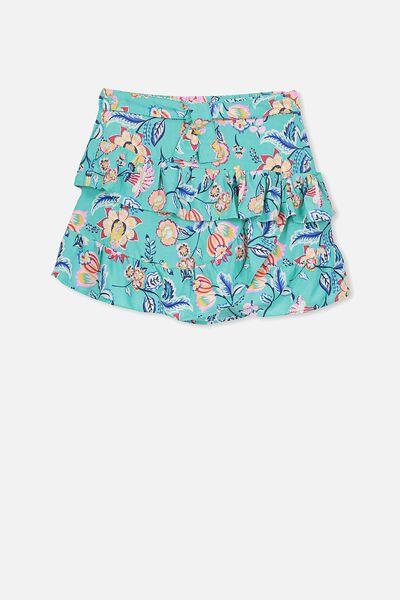 Bec Ruffle Skirt, AQUA GREEN/PAISLEY FLORAL